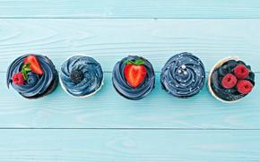 Картинка ягоды, крем, кексы