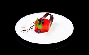 Картинка ягоды, фон, черный, шоколад, тарелка, десерт, желе, desserts