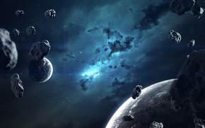 Картинка Звезды, Планета, Космос, Туманность, Звезда, Планеты, Planets, Star, Арт, Stars, Space, Art, Спутник, Planet, Universe, …