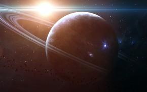 Картинка Звезды, Планета, Космос, Кольцо, Арт, Stars, Space, Art, Кольца, Planet, Rings, Астероиды, Asteroids, Ring, Eternity, …