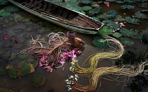 Картинка озеро, лодка, мужчина, собиратель лилий