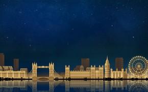 Обои Лондон, Небо, Минимализм, Ночь, Город, Art, London, Digital, Illustration, Game Art, by Caio Perez, Caio ...