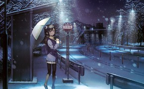 Картинка Девушка, Улица, Зонтик, kantoku, shizuku