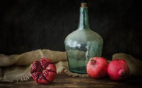Картинка бутылка, граната, фрукт