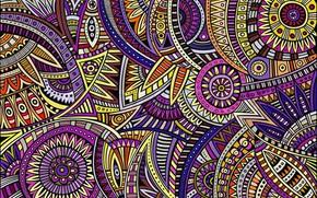 Картинка полоски, круги, абстракция, фон, рисунок, текстура, холст, цветочный орнамент, заставка на рабочий стол, акриловые краски, …