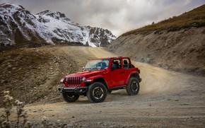 Картинка красный, вершины, поворот, грунтовка, 2018, Jeep, Wrangler Rubicon