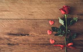 Картинка любовь, сердце, роза, red, love, rose, flower, wood, romantic, hearts