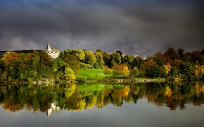 Картинка фото, Природа, Осень, Лес, Залив, Норвегия, Берген, Gamlehaugen