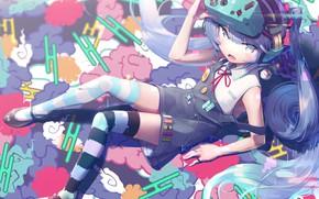 Картинка Девочка, лежит, Hatsune Miku, Vocaloid, Вокалоид, Хатсуне Мику, gesoking06