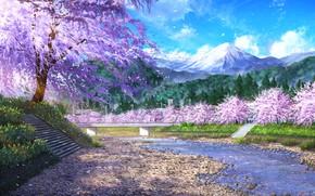 Картинка небо, вода, горы, природа, весна, сакура, NIK