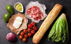 Картинка сыр, хлеб, помидоры, капуста, бекон, авокадо