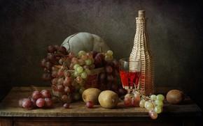 Картинка вино, бокал, бутылка, киви, виноград, дыня