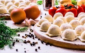 Картинка стол, яйца, укроп, перец, помидоры, чеснок, пельмени, стряпня