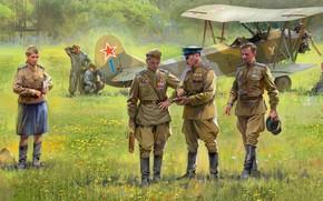 Картинка СССР, аэродром, пилоты, РККА, советский многоцелевой биплан, По-2ВС, основной самолёт связи советских ВВС, У-2ВС