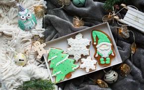 Картинка Рождество, фигурки, поднос, декор, пряники