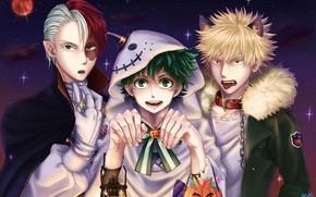 Картинка арт, парни, хеллоуин, Boku No Hero Academia, Моя Геройская Академия