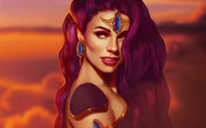Картинка взгляд, девушка, лицо, волосы, камень, красота, серьги, арт