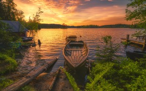 Картинка пейзаж, закат, природа, озеро, лодки, леса, берега