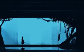 Картинка туман, дома, девочка, руины, постапокалипсис, by Gracile