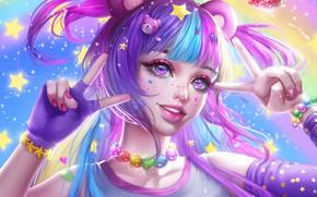 Картинка взгляд, девушка, звезды, украшения, настроение, арт, бусы, браслет, жест, ушки, хвостики