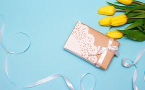 Картинка цветы, праздник, подарок, букет, лента, тюльпаны