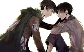 Картинка аниме, арт, парень, парни, двое, Shingeki no Kyojin, Атака титанов, Леви