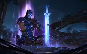 Картинка ночь, меч, Shen, Legends of Runeterra
