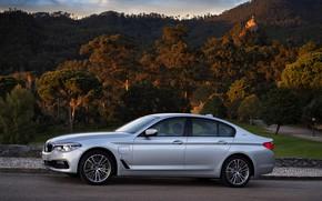 Картинка дорога, лес, небо, облака, горы, серый, BMW, седан, гибрид, 5er, четырёхдверный, 2017, 5-series, G30, 530e …