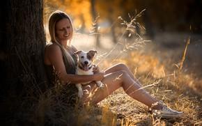 Обои девушка, природа, собака