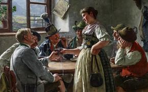 Картинка German painter, немецкий живописец, Emil Rau, Эмиль Рау, oil on canvas, Bergwirts Töchterlein, The Landlord's …