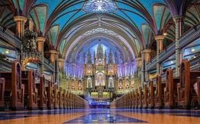 Картинка интерьер, собор, canada, montreal, basilica