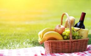 Картинка вино, фрукты, пикник, корзинка, батон