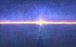 Картинка небо, вода, солнце, закат, человек