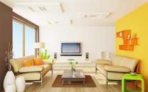 Обои цветы, дизайн, интерьер, ваза, столик, диваны, гостиная, плазма, моденр