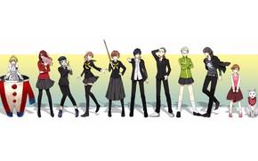 Картинка фон, игра, группа, аниме, арт, персонажи, Персона 4, Persona 4