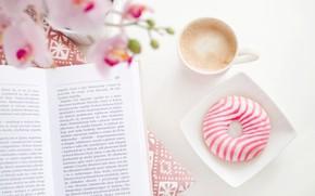 Картинка кофе, чашка, книга, пончик