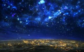 Картинка небо, звезды, огни, земля