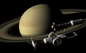 Картинка космос, планета, спутник, Сатурн