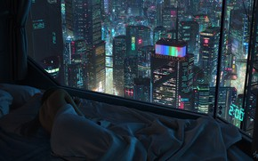 Картинка Девушка, Ночь, Город, Окно, Кровать, City, Сон, night, Illustration, futuristic, Cyberpunk, scifi, Tony Skeor, by …