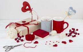 Картинка чашки, подарки, сердечки, декор