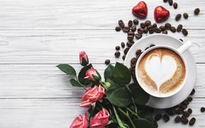 Картинка сердце, кофе, розы, букет, конфеты, чашка