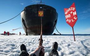 Картинка Небо, Зима, Лед, Люди, День, Ледокол, Судно, Россия, Лёд, Нос, Конец, 50 лет Победы, Бак, …