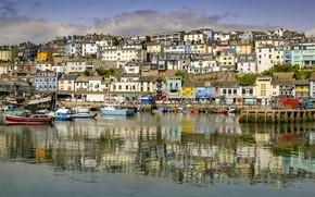 Картинка вода, солнце, берег, Англия, дома, бухта, яхты, лодки, Devon, катера, причалы, Brixham