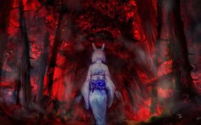 Картинка лес, девушка, уши