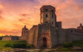 Картинка небо, облака, пейзаж, закат, замок, стена, арка, башни, ступени, средневековье, старинный