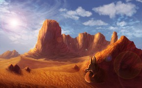 Картинка природа, пустыня, лиса, by CreeperMan0508