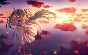 Картинка горизонт, штиль, бантики, vocaloid, Hatsune Miku, белое платье, длинные волосы, вокалоид, на воде, отражение в …
