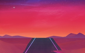 Картинка Небо, Дорога, Музыка, Звезды, 80s, Neon, 80's, Synth, Retrowave, Synthwave, New Retro Wave, Futuresynth, Синтвейв, …