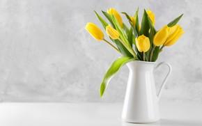 Картинка букет, желтые, тюльпаны