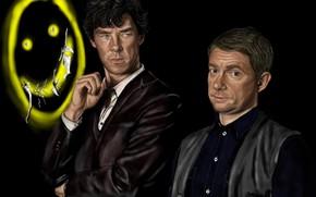 Картинка арт, живопись, Шерлок Холмс, смайлик, Мартин Фриман, Бенедикт Камбербэтч, Sherlock, Sherlock BBC, Sherlock Holmes, Джон …